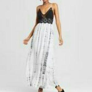 Xhilaration Crocheted Top Tie Die Maxi Dress